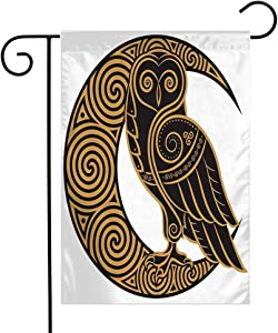 Welcome Garden Flag Owl Handdrawn Sign Celtic Predator Bird Feather Magic Tattoo Style On Wise Signs Symbols Vintage Seasonal Garden Flags for Patio Lawn Outdoor Home Decor Gift 12 X 18 Inch