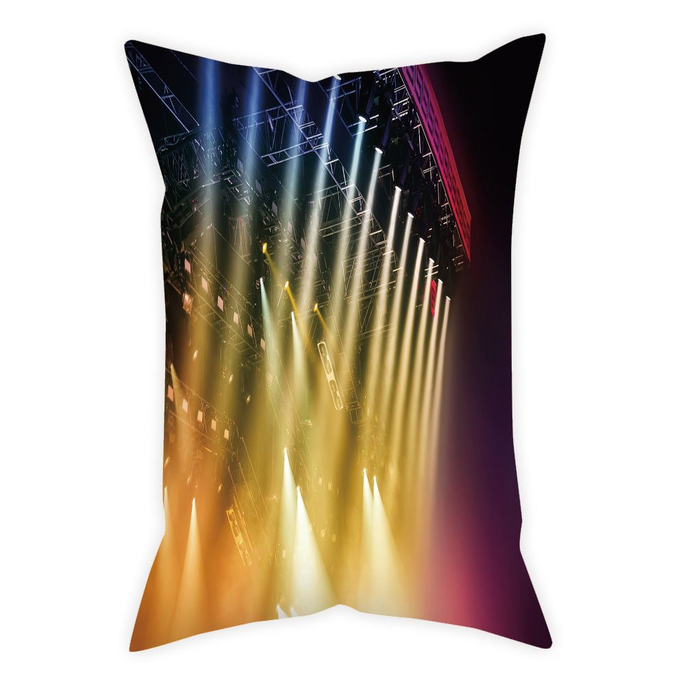 iPrint Polyester Throw Pillow Cushion Cover,Musical Theatre Home Decor,Colorful Rays Concert Dance Music Staging Technology Smoky Night,Multicolor,Decorative Square Accent Pillow Case