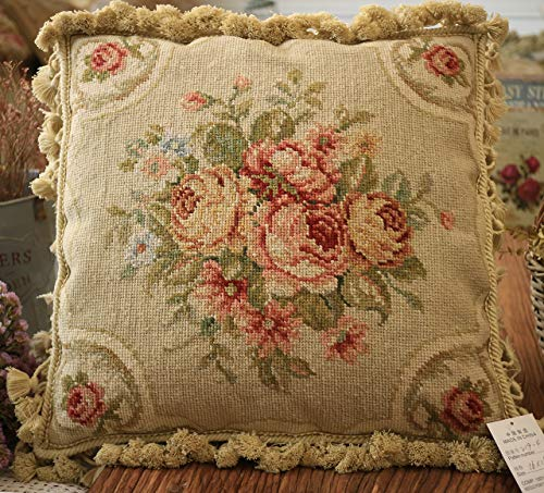 """Fine Home Crafts 16"""" Antique Rose Bouquet French Classic Floral Hand Knotted Needlepoint Pillow Cover"""