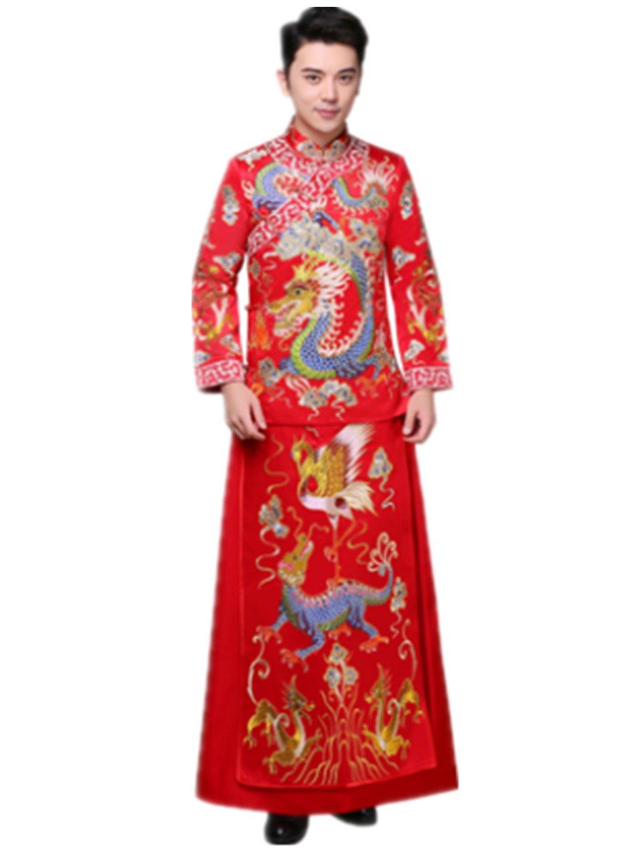 Brideroom Wedding Dress Mandarin Jacket Tang Suits Show Wo Dress by YY-Bridegroom Wedding Suit