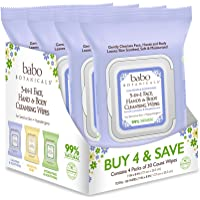 Babo Botanicals Calming 3-in-1 Face, Hand & Body Wipes with French Lavender and Organic Meadowsweet, For Babies, Kids or…