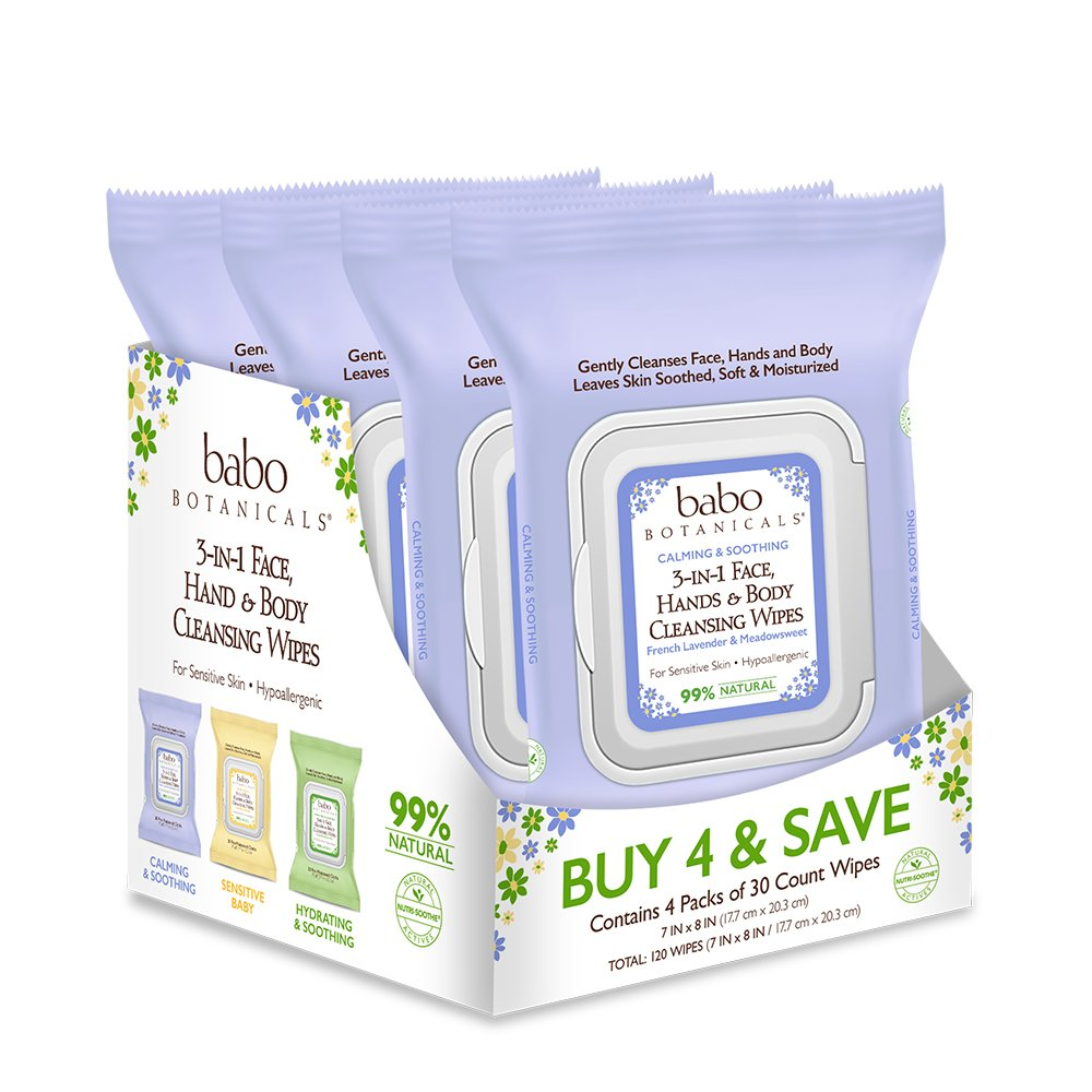 Babo Botanicals 3-in-1 Calming Wipes, French Lavender/Meadowsweet, 120