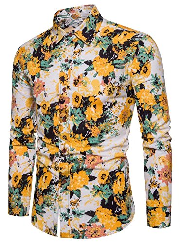 (EMAOR Men's Novelty Flower Print Button Front Long Sleeve Floral Dress Shirt, 19#color, US Medium = Tag 3XL)