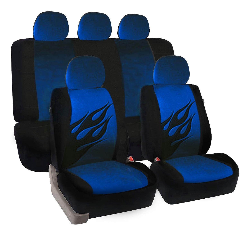 eSituro Funda de Asiento de Coche Universal Set de Fundas de Asiento para autom/óvil con patr/ón de Llama Negro Azul SCSC0032