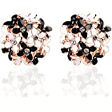 Ownsig Lady Charming Bloomy Four Leaf Clover Flowers Rhinestone Ear Stud Earrings Ornaments 2pcs