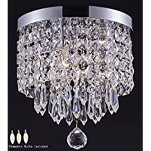 Smart Lighting 3-light modern Crystal Chandelier, Flush Mount Crystal Ceiling Light, Chrome Finish Pendent Light for Hallway, Bedroom, Kitchen, Kids Room, W9.84×H9.85 Inches, LED Bulbs Included