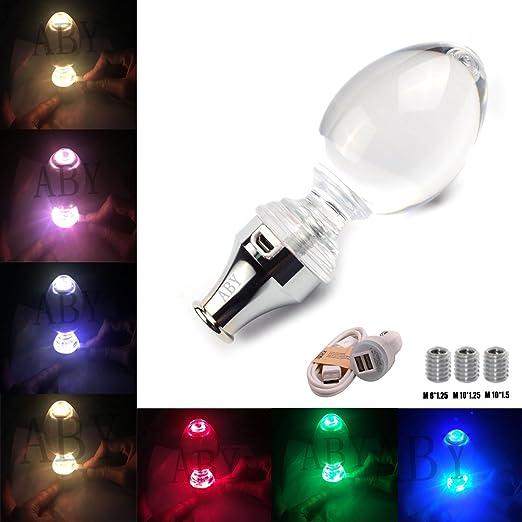Multi-color AZQKJ Smooth Leather Ber/ührung aktiviert Multi-color LED-Licht beleuchtet Schaltknauf