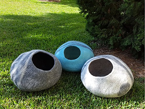 Meowfia-Premium-Felt-Cat-Cave-Bed-Large-Eco-Friendly-100-Merino-Wool-Bed-Perfect-Gift-For-Large-Cats-and-Kittens-Grey