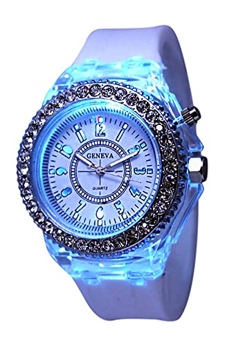 f1bcea08306b1 Amazon.com  White Geneva Quartz Flashing Light up Color Changing LED Silicone  Jelly Watch  Watches