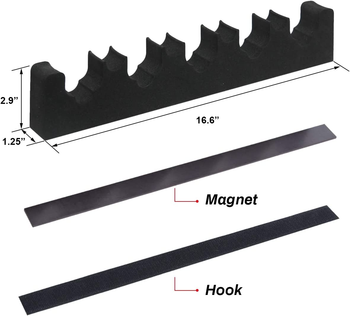 Mind and Action Portable Foam Rifle Rack Universal Gun Barrel Holder with Magnetic Strip and Hook Strip,Gun Storage,Gun Rest for Gun Safe Cabinet Indoor Outdoor Wall Mount (5+4,Pack-2): Sports & Outdoors