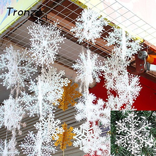 Tronzo Christmas Tree Decorations Snowflakes 30pcs 6cm White Plastic Artificial Snow Christmas Decorations for Home Navidad by FETVS4GB