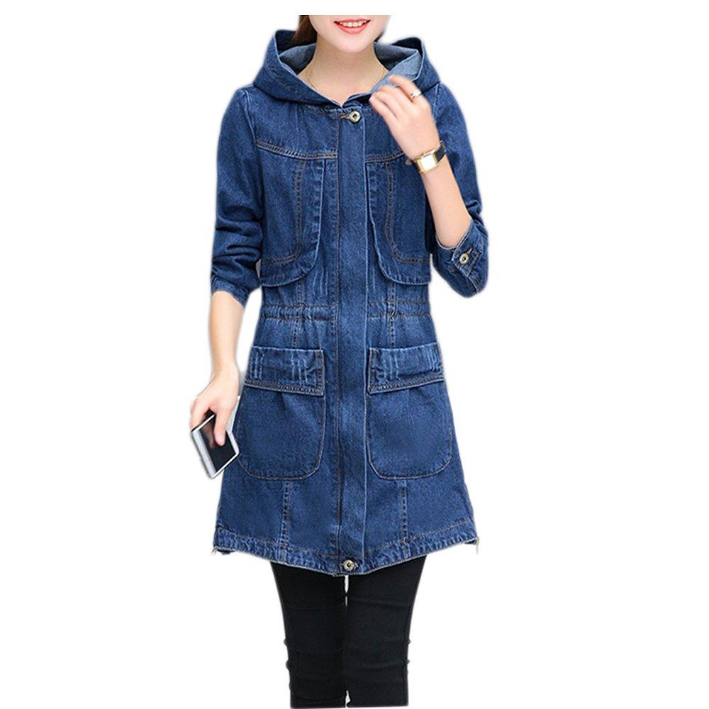 Kaachli Women's Cotton Denim Long Zipper Ripped Jeans Coat Hoodie Jacket (S, Blue-1)