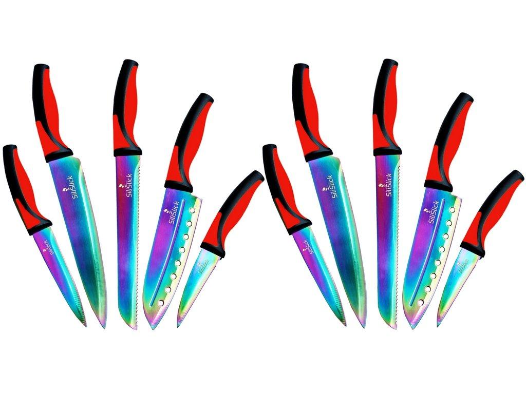 SiliSlick Kitchen Knife Set, 5 Colorful Rainbow Titanium Coated Knives Chef Quality & Blade Guards, Bundle of 2, red Black