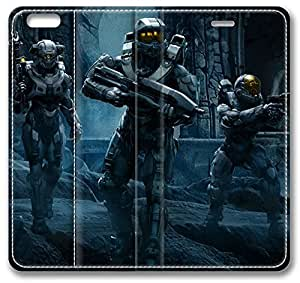 Halo 5 Guardians Team Chief iPhone 6 plus Case, Leather Cover for iPhone 6 plus Premium Soft PU Leather Wallet Cover - Verizon, AT&T, Sprint, T-Mobile, International, and Unlocked with Black PC Hard Case Inside for iPhone 6 plus by iCustomonline