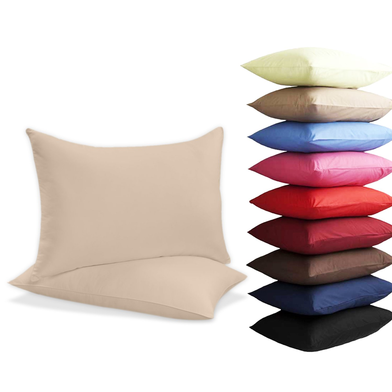2 x Pillow Case Luxury Case Poly Cotton Housewife Pack