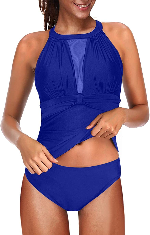 Eternatastic Women Two Piece Swimsuit High Neck Plunge Mesh Ruched Tankini Swimwear Black