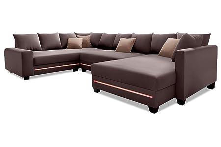 Sofa Couch Nova Via Wohnlandschaft Quadro Mit Led Braun Mit