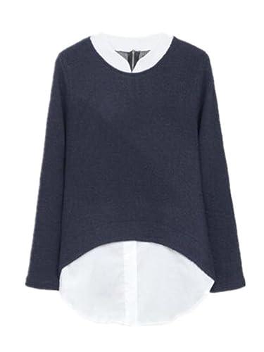 BESTHOO Mujeres Camisetas De Manga Larga Sueter Cuello Redondo T Shirt Jersey De Punto Outwear Irreg...