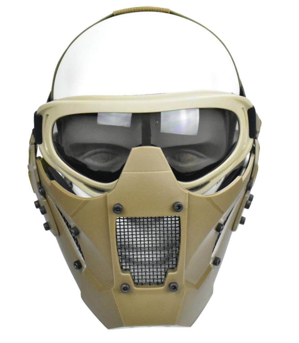 Jadedragon Tactical Airsoft Lower Face Mask Half Face Steel Mesh Protective Mask and Goggles Set (Khaki) by Jadedragon