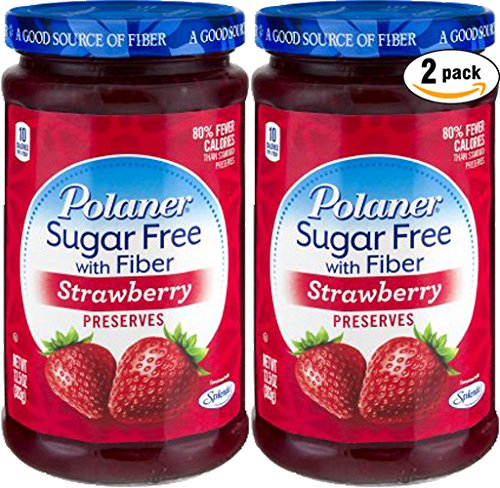 - Polaner Strawberry, Sugar Free With Fiber Preserves, 13.5oz (Pack of 2, Total of 27 Oz)
