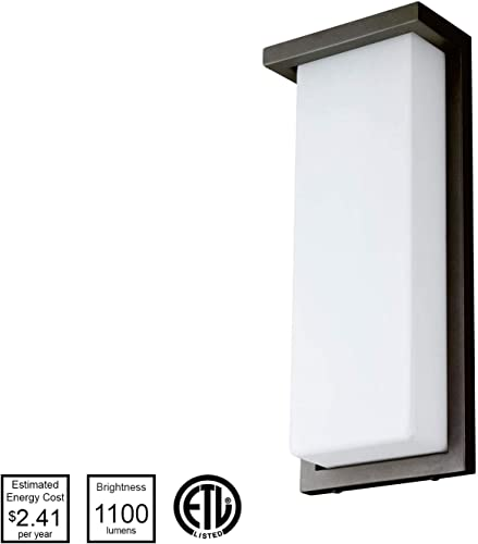 Sunlite 81078-SU LED 14 Modern Wall Sconce Light Fixture, 20 Watts 100W Equivalent , Oil Rubbed Bronze Finish, 1000 Lumens, Outdoor Use, ETL Listed, 30K-Warm White