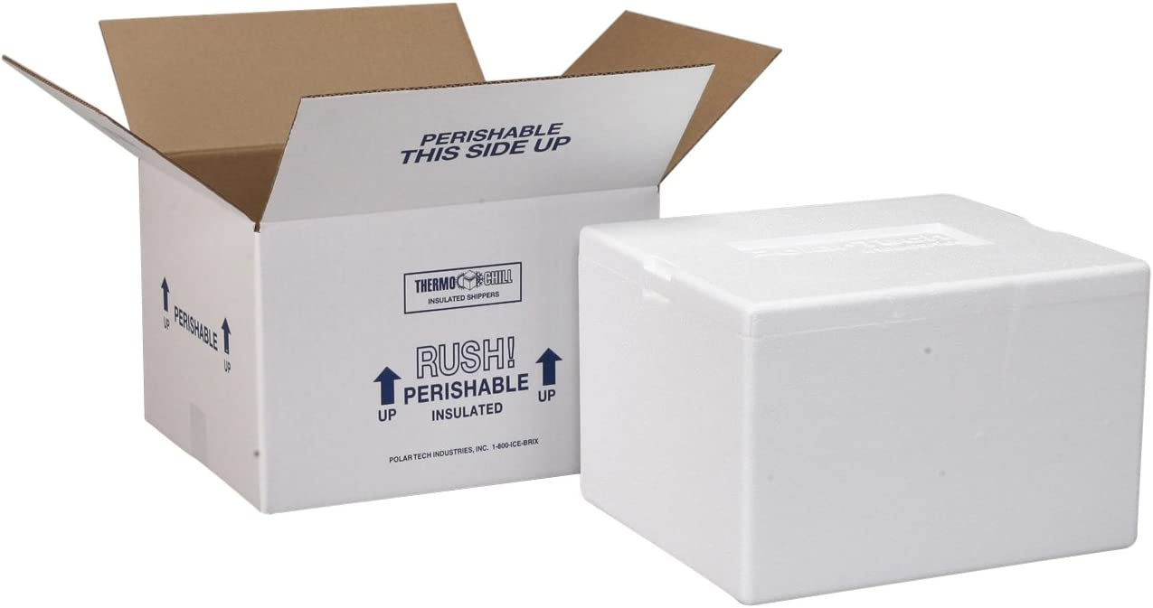 "Polar Tech 204C Thermo Chill Insulated Carton with Foam Shipper, Small, 8"" Length x 6"" Width x 4-1/4"" Depth (Case of 3)"