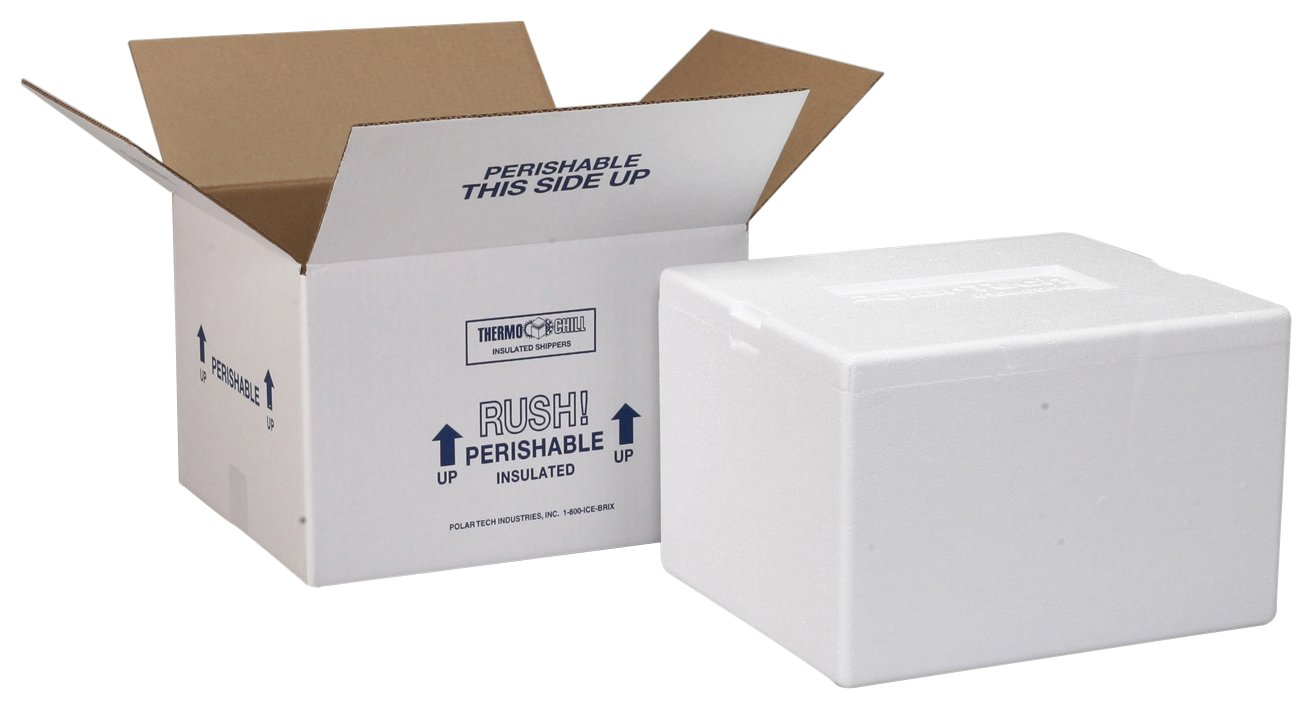 Polar Tech 204C Thermo Chill Insulated Carton with Foam Shipper, Small, 8'' Length x 6'' Width x 4-1/4'' Depth (Case of 3)