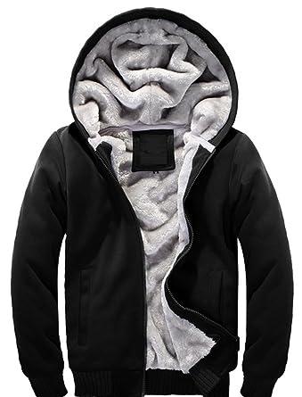 Hanxue Men's Winter Warm Full Zip Eco Sherpa Fleece Hoodie Jackets ...