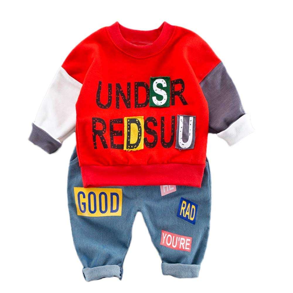 Moonker-Baby Outfits PANTS ユニセックスベビー 18 - 24 Months レッド B07JGR8JKY