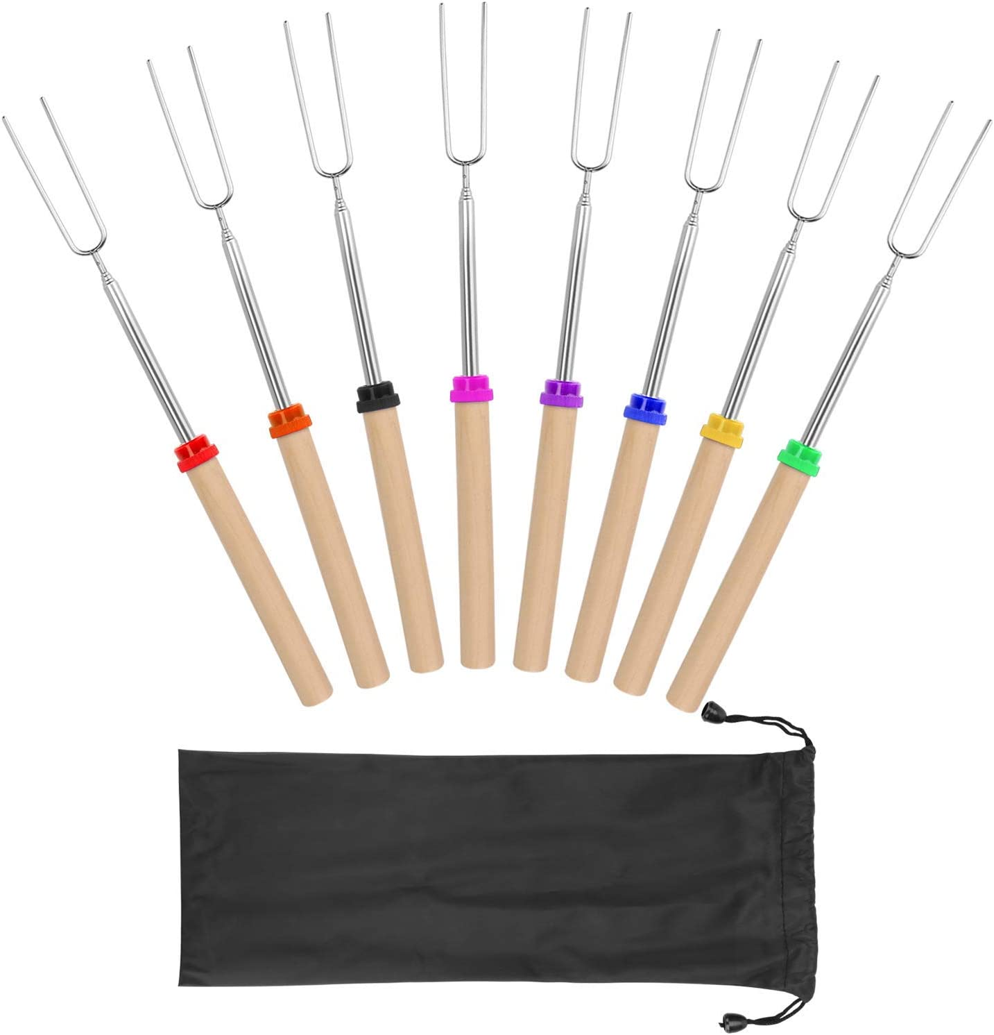 Coindivi Marshmallow Roasting Sticks, Smores Skewers Telescoping Rotating Forks Set of 8 Hot Dog Fire Pit Outdoor Fireplace Campfire Accessories-8 Multicolored 32 Inch Extendable Steel Fork Camping