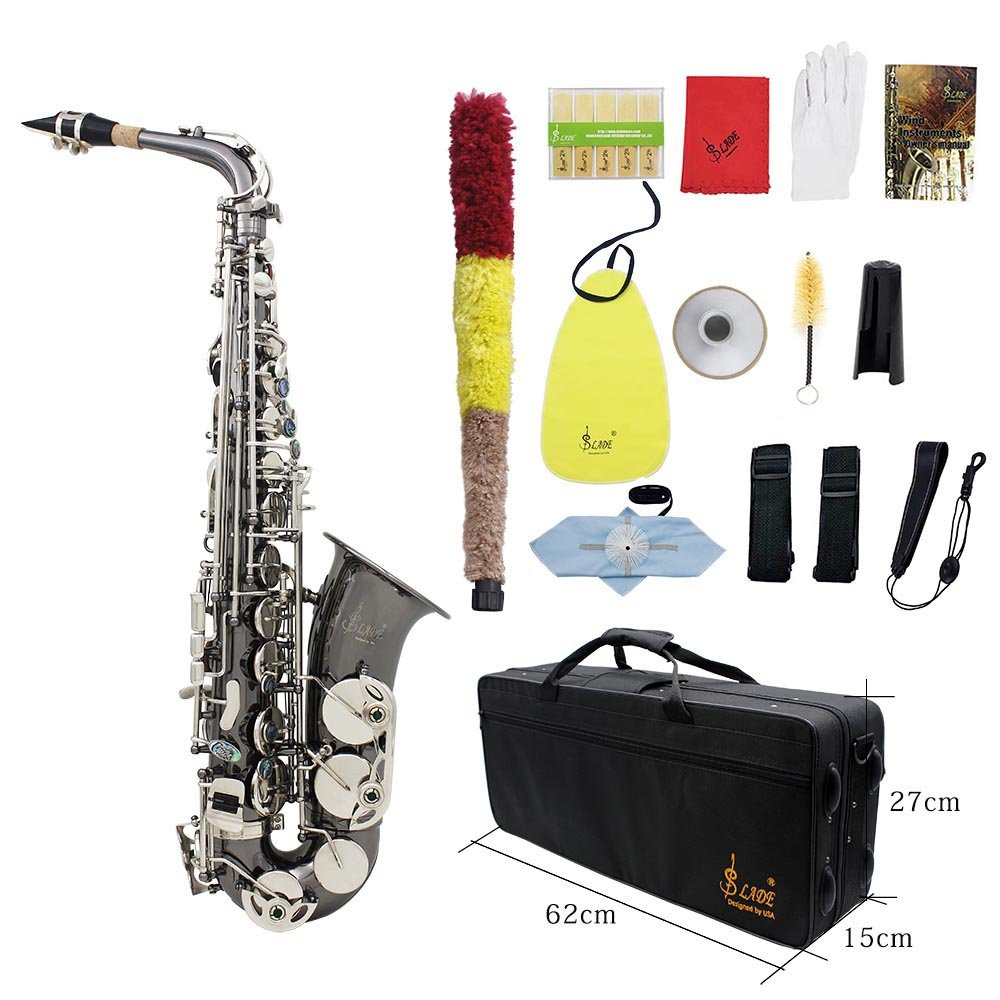 Saxophone,Eb E-flat Alto Bend Sax Abalone Shell Keys with Carrying Case Gloves Cleaning Cloth Straps Grease Brush