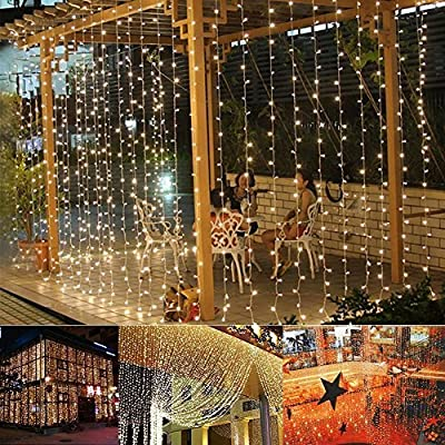 Aogist Curtain Lights 304led 9.8*9.8ft Warm White Christmas Curtain String Fairy Wedding Led Lights for Home, Garden, Holiday, Party, Outdoor Wall, Kitchen, Bathroom, Curtains, Window Decorations