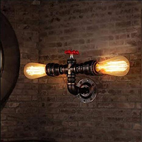 Amazon Com Bysun Retro Wall Lamp Retro Industrial Steampunk Wall Sconce 2 Lights Metal Water Pipe Style Wall Mounted Lamp Light Fixture E26 Wall Industrial Vintage Edison Lamp Fixture Home Improvement