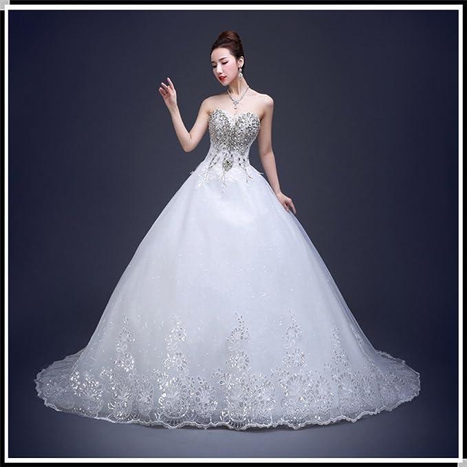 DIDIDD Vestido de Novia Modelos de Invierno Diamante Sastre Qi Qi Pecho Boda Boda Nupcial Era Delgada Mujeres Embarazadas,Blanco,Metro: Amazon.es: Hogar