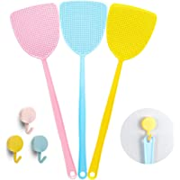 Bottokan 3 Multi Pack Fly Swatters with Hooks, Manual Swat Flexible Fly Swatters with Long Handle, Heavy Duty Fly Swatters Plastic, Home and Kitchen Helper(3 Pack,3 Colors,3 Cute Hooks)