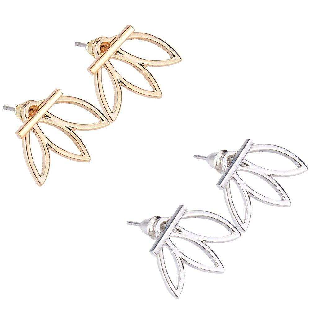 2 pairs Lotus Flower Earrings Backs Jewelry Simple Chic Earrings (Gold & Silver) Cuffs Stud Earrings DAXUN