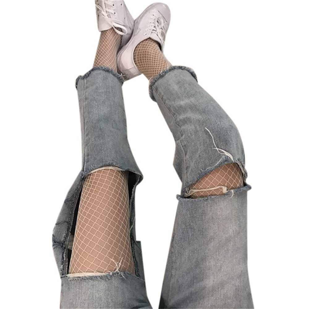 YOMXL Sexy Women Fishnet Stockings High Waist Tights Thigh High Net Pantyhose Stretchy Mesh Socks For Hollow Jeans&Boots