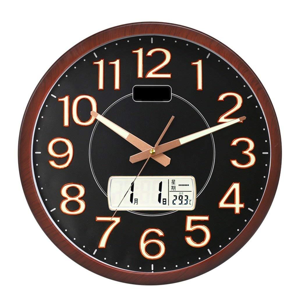 大きいデジタル月/日/日のカレンダーの表示が付いている無声掃引の柱時計の電子壁時計   B07T3B6RRG