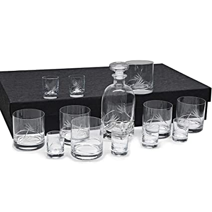 Set/Estuche de 6 Vasos Bajos de Cristal para Whisky o Agua + 6 Vasos