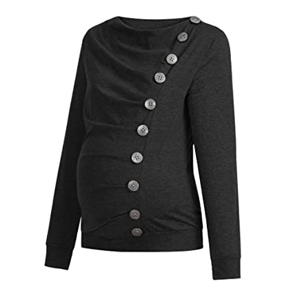 902a250afbb2a Amazon.com: BOLUOYI Petite Maternity Clothes Women Nursing Maternity Long  Sleeve Cowl Neck Buttons Tunic Top T-Shirt Clothes Black XXL: Toys & Games