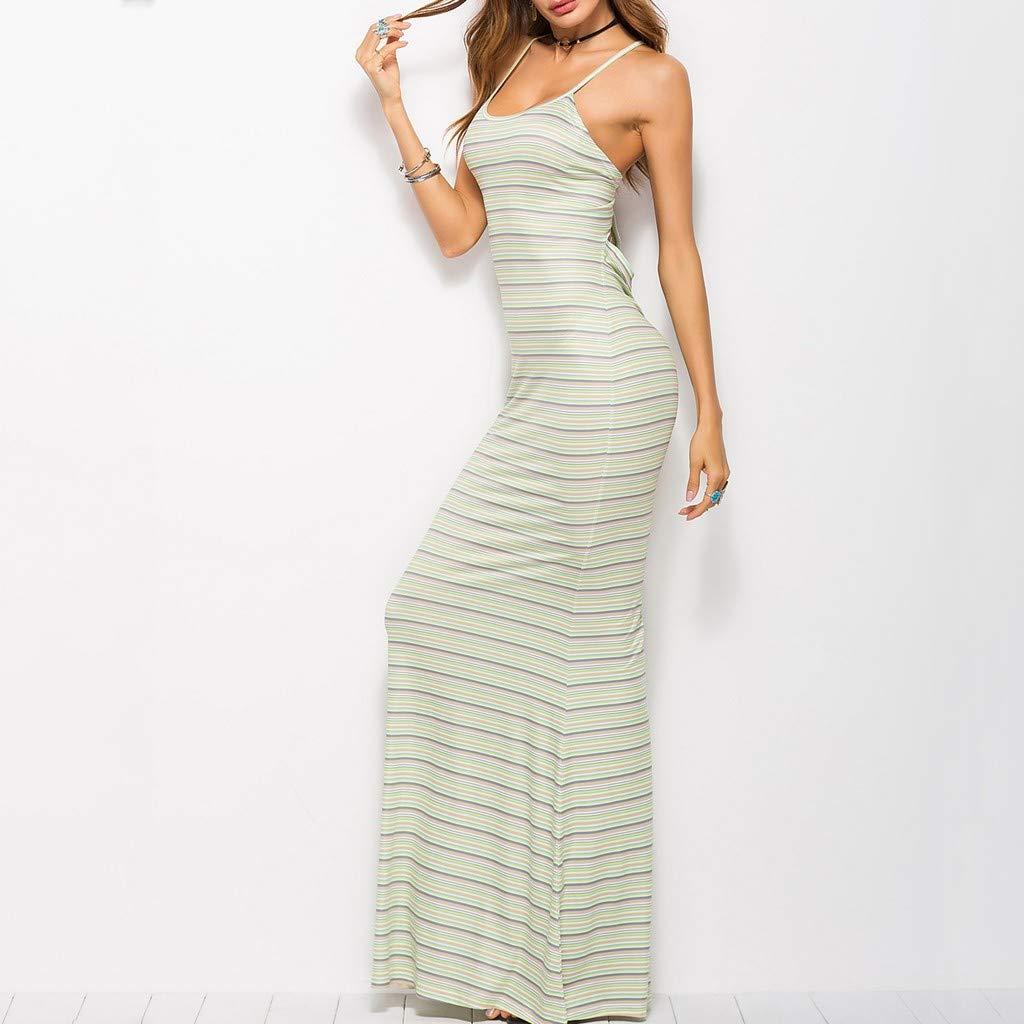 47486b35f174e Amazon.com  Fainosmny Women Dress Long Slim Dress Sling Gown Dress Fashion  Party Dress Hollow Stripe Print Dress Lace-Up Backless Dress  Clothing
