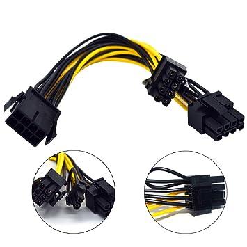 Yeshai3369 - Cable de alimentación de 8 Pines a Doble 6 + 2 ...
