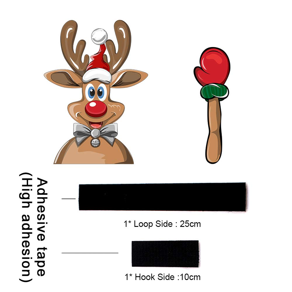 8 MIYSNEIRN Christmas Waving Wiper Decal Tag for Rear Window 3D Cartoon Festive Car Sticker Reusable Waterproof Vinyl Decal for Vehicle Rear Wipers Christmas Decoration