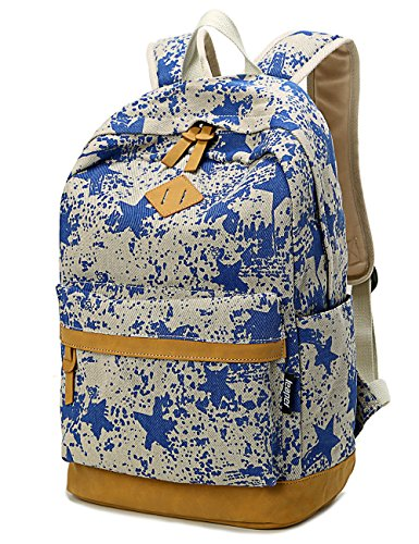 Leaper Lightweight Canvas Laptop Backpack Cute School Bags (Large, Star Blue)