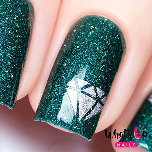 Whats Up Nails - Diamond Gemstone Nail Stencils Stickers Vinyls for Nail Art Design (1 Sheet, 20 Stencils) (Diamond Rings For Nails)
