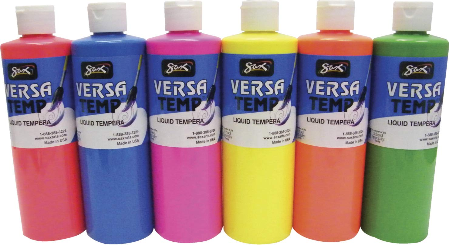 Sax Versatemp Tempera Paints, Assorted Fluorescent Colors, Set of 6 - 1440727 by Sax