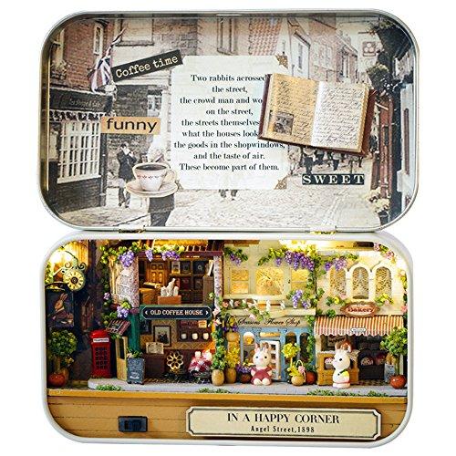 Box Theater,Nasion.V Handmade Theme Dollhouse Miniature DIY Exquisite Retro Tin Box (Corner)