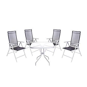 Amazon.de: Sitzgruppe 4 Metall Gartenstühle aus Stahl mit Tisch ...