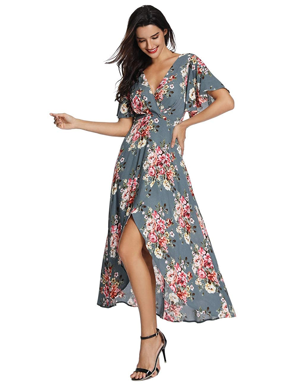 f154b1bf07a2 Azalosie Wrap Maxi Dress Short Sleeve V Neck Floral Flowy Front Slit High  Low Women Summer Beach Party Wedding Dress at Amazon Women s Clothing store