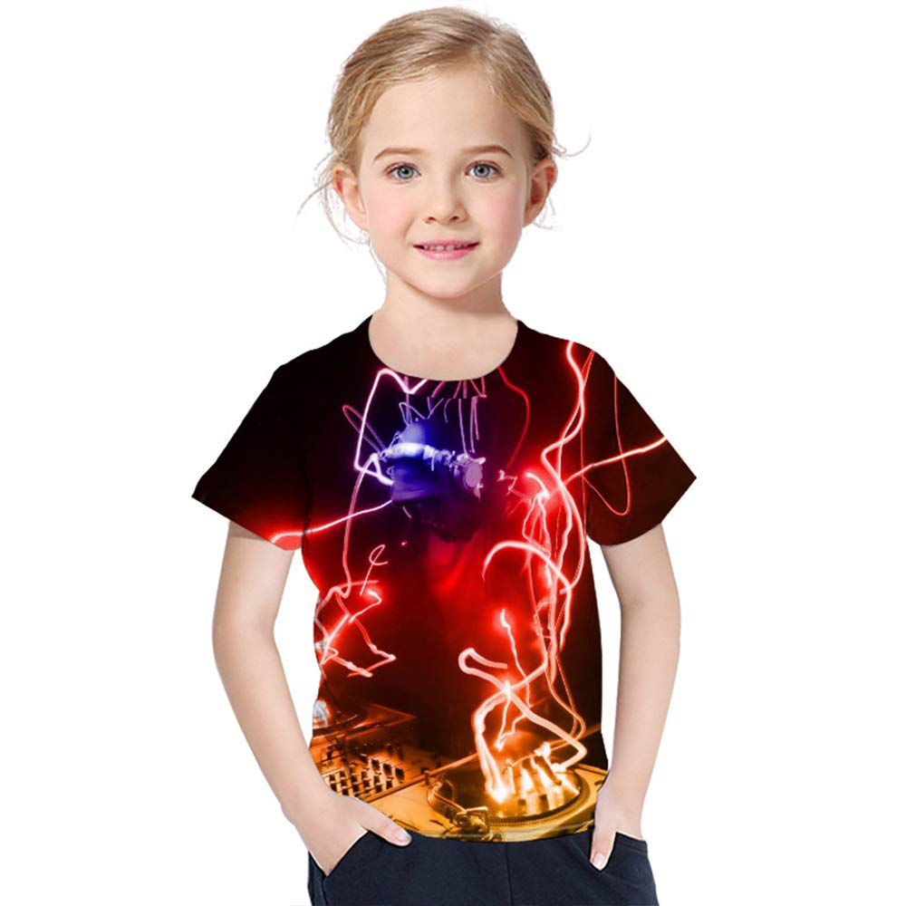 Magliette Casual estive Girocollo Traspirante e Confortevole Manica Corta Unisex GALEI T-Shirt Stampate Musica Elettronica per Bambini 3D DJ